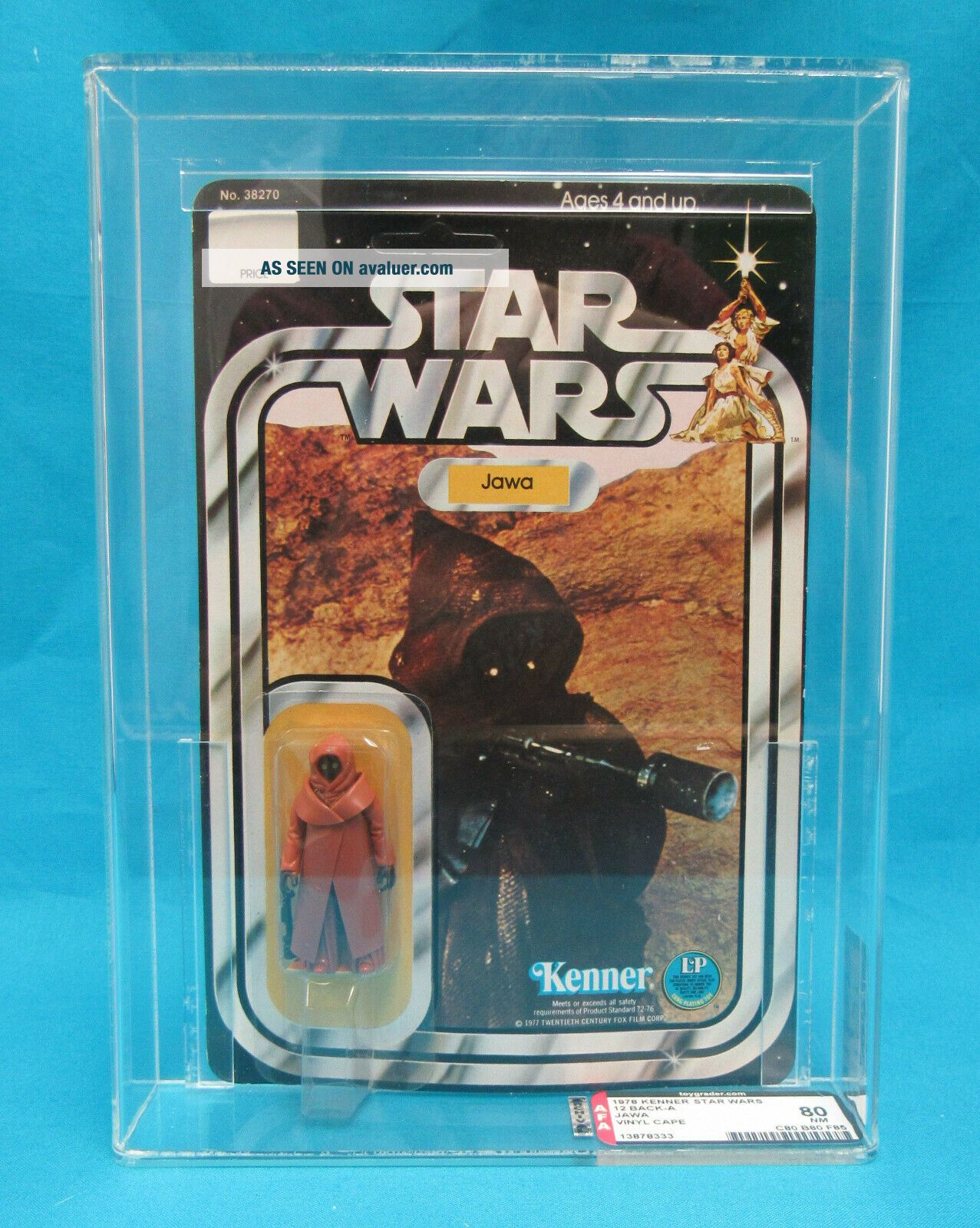 1978 Kenner Star Wars 12 Back - A Jawa Vinyl Cape AFA Graded 80 NM Unpunched Card