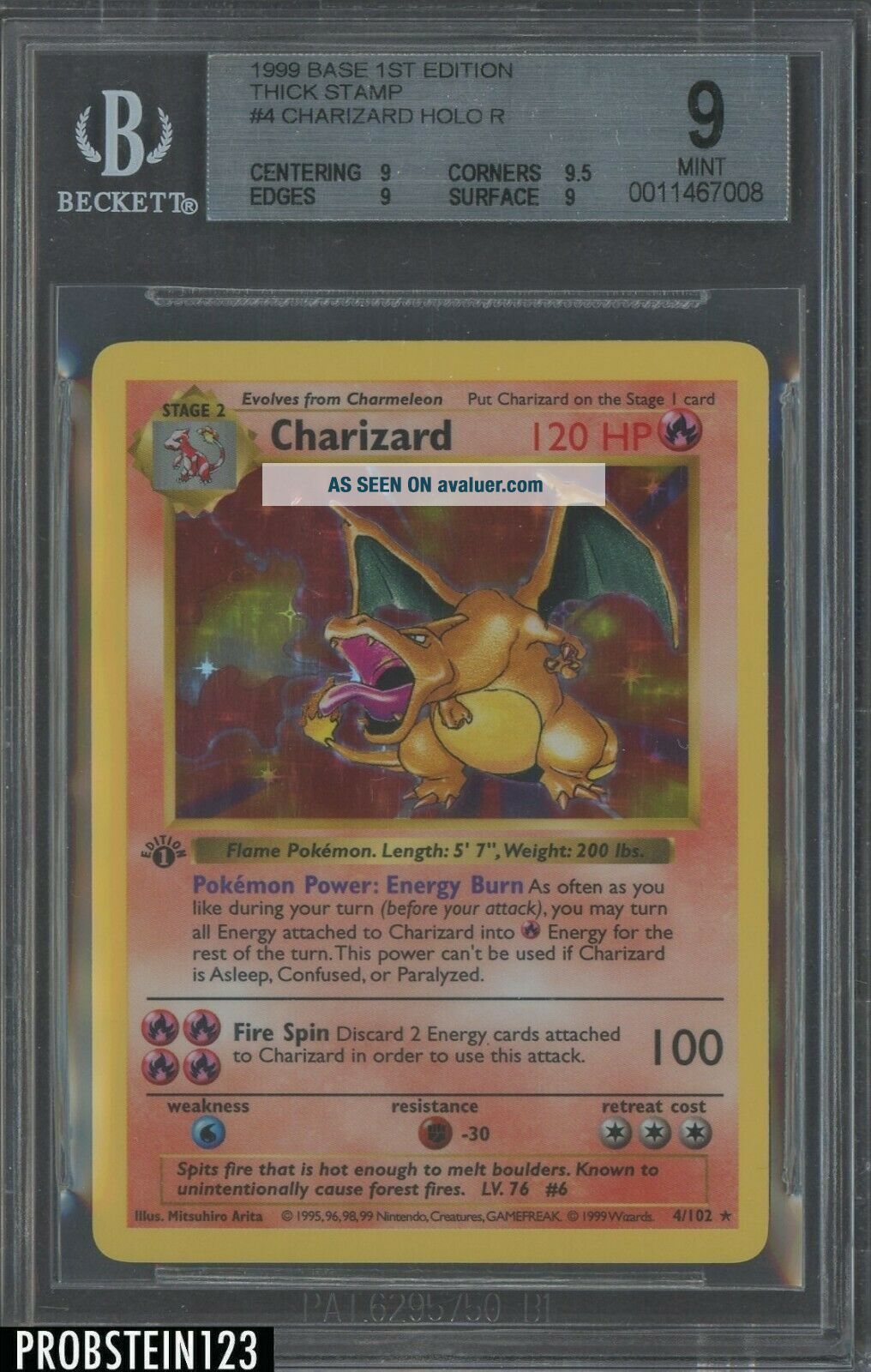 1999 Pokemon Base 1st Edition Shadowless Thick Stamp 4 Holo Charizard BGS 9