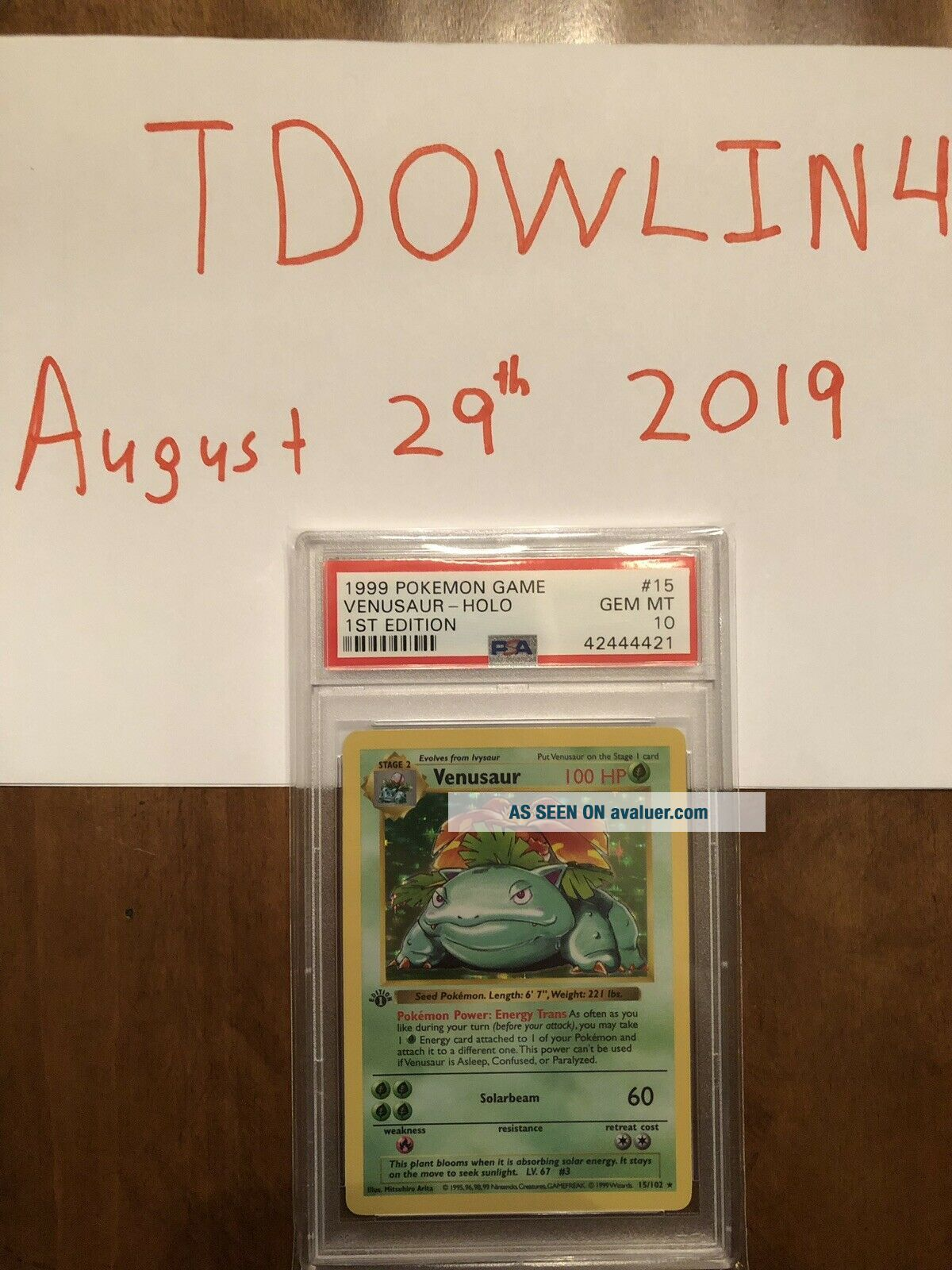 1st Edition Base Set Booster Pokemon Venusaur PSA 10 PRISTINE Card Thick Stamp