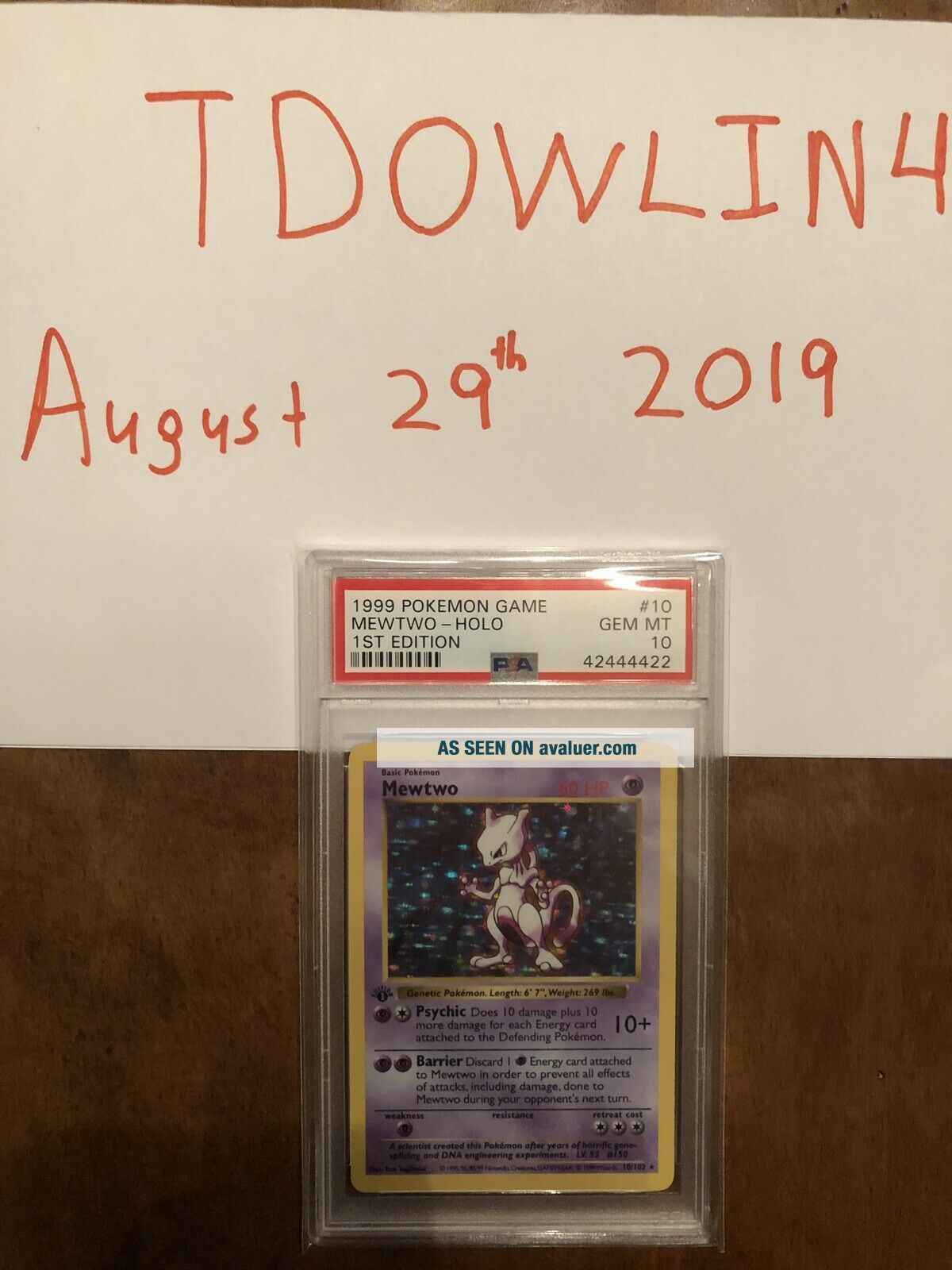 1st Edition Base Set Booster Pokemon Mewtwo PSA 10 Thick Stamp PRISTINE
