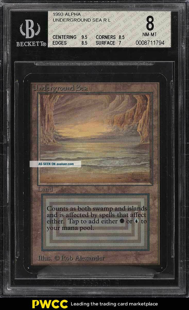 1993 Magic The Gathering MTG Alpha Dual Land Underground Sea R L BGS 8 (PWCC)