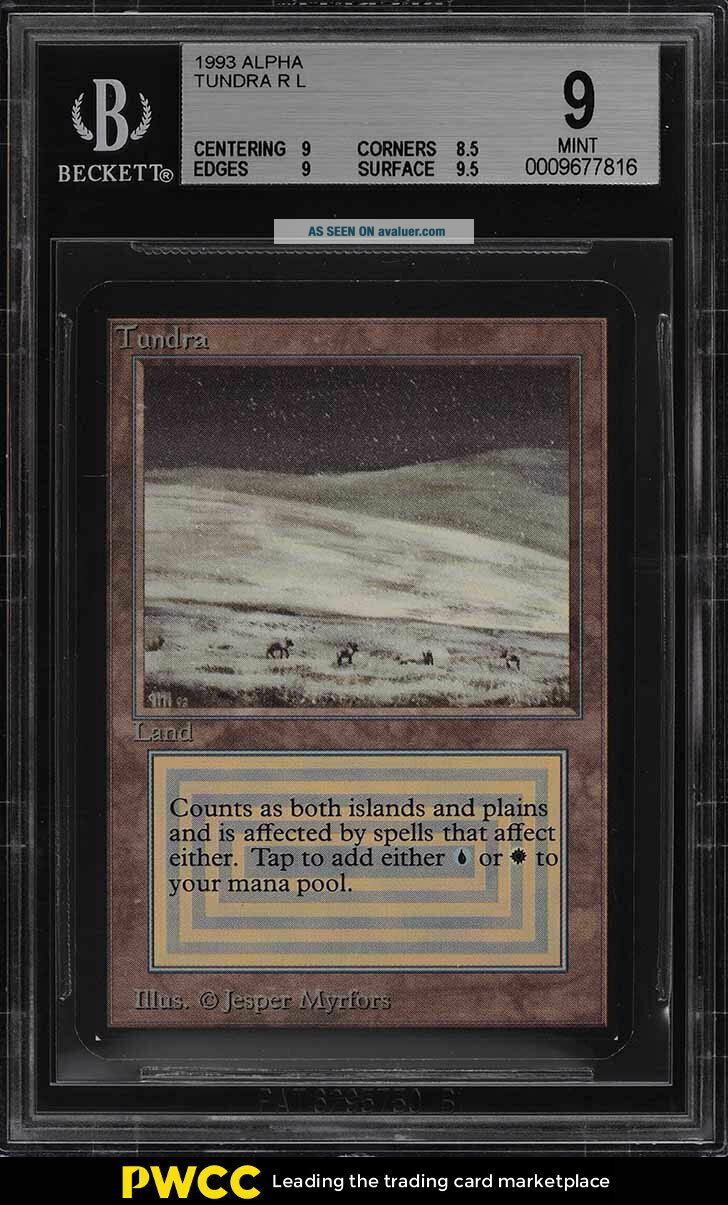 1993 Magic The Gathering MTG Alpha Dual Land Tundra R B BGS 9 (PWCC)
