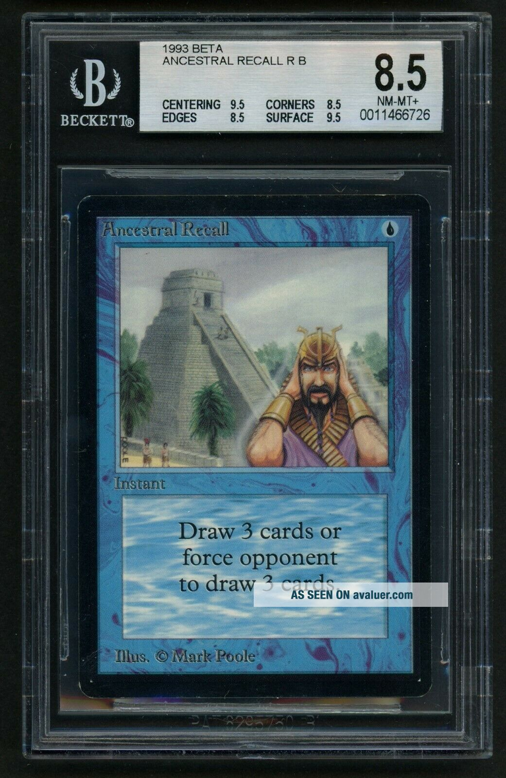 1x BGS 8.  5 Beta Ancestral Recall (Quad, ) MTG Beta Power 9 - Kid Icarus -