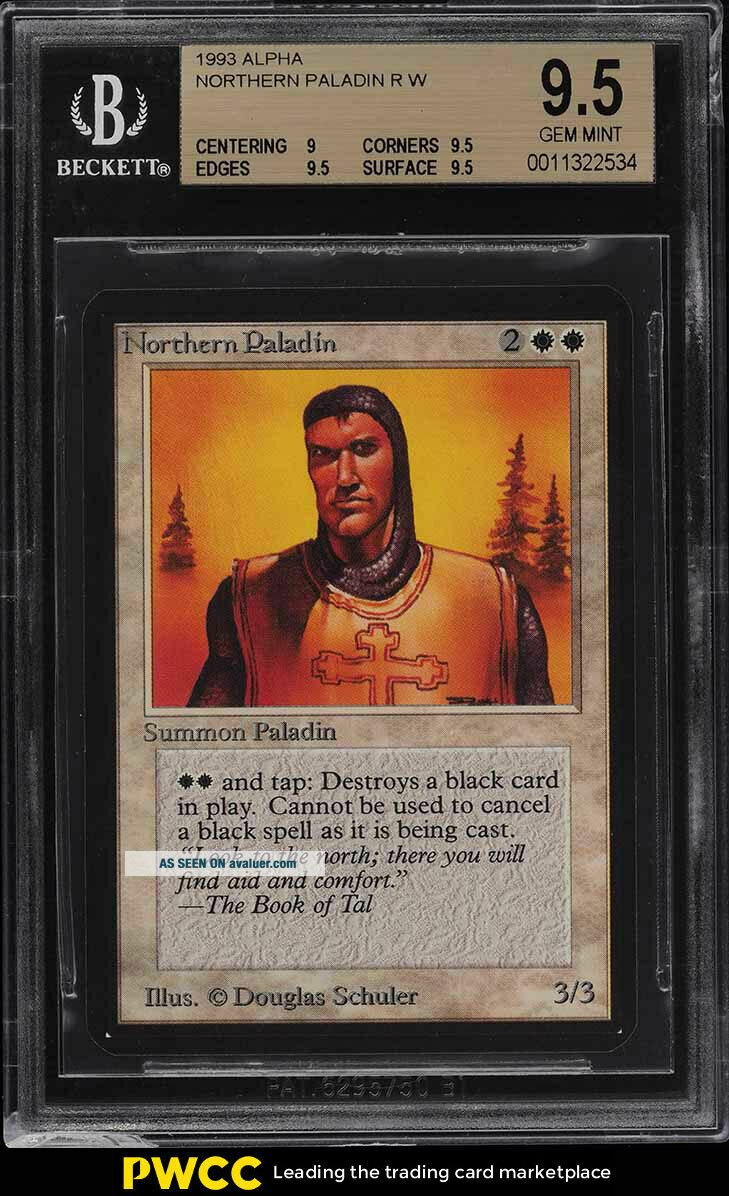 1993 Magic The Gathering MTG Alpha Northern Paladin R W BGS 9.  5 GEM (PWCC)